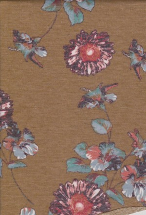 Florals on Mustard Double Brushed French Terry