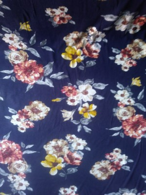 Florals on Navy  ITY Knit