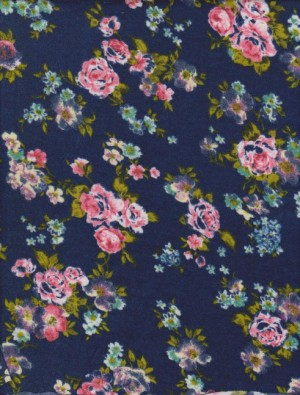 Florals on Navy Rayon Lycra Jersey