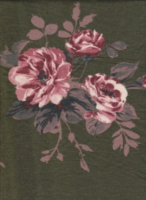 Pink Florals on Olive Double Brushed French Terry