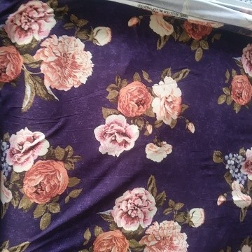 Florals on Purple  Double Brushed Poly Lycra Jersey