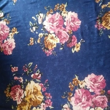 Floral on Royal Blue Double Brushed Poly Lycra Jersey