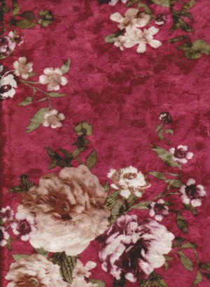 Florals on Wine Crushed Velvet