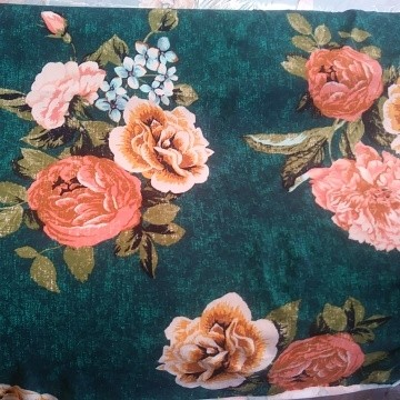 Florals on Teal Double Brushed Poly Lycra Jersey