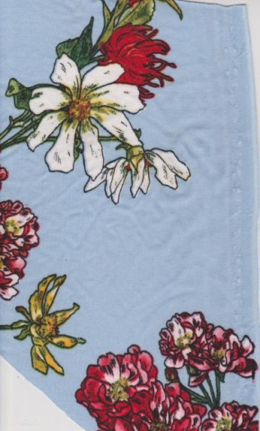Florals on Blue Double Brused Poly Lycra