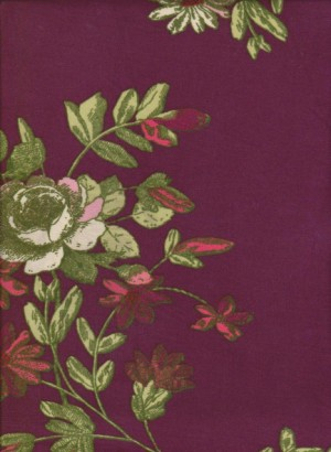 Florals on Burgundy Double Brushed Poly Lycra