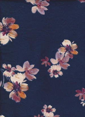 Flowers on Navy Double Brushed Poly Lycra