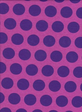 Fuchsia and Purple Polka Dots on Cotton Lycra Jersey