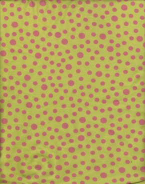 Fuchsia Small Polka Dots on Lime Cotton Lycra Jersey