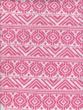 Fuchsia Authentic Print on White Cotton Lycra French Terry