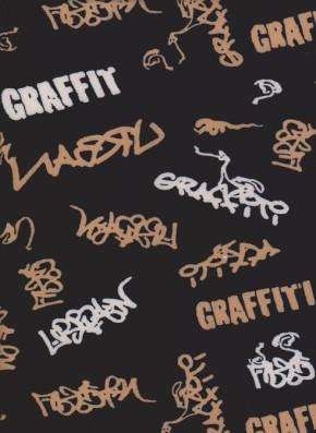 GRAFFITI  on Navy Double Brushed Poly Lycra Jersey