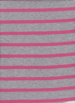 Heather Gray and Fuchsia Stripe on 2x1 Cotton Rib