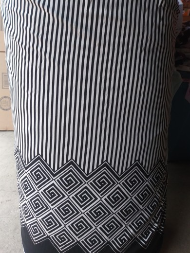 Black and White Geo and Stripe Border Print on ITY