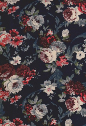 Gray and Coral Roses on Navy Double Brushed Poly Lycra Jersey