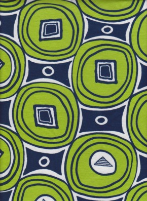 Green and Navy Trendy Circles on Cotton Lycra Jersey
