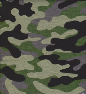 Green and Black Camouflage on Cotton/Poly Slub Jersey