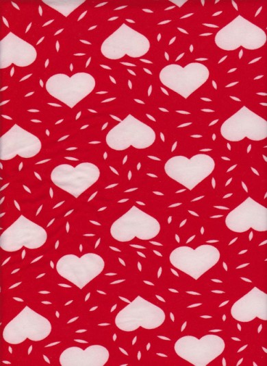 Hearts on Cherry Red Brushed Poly Lycra Jersey