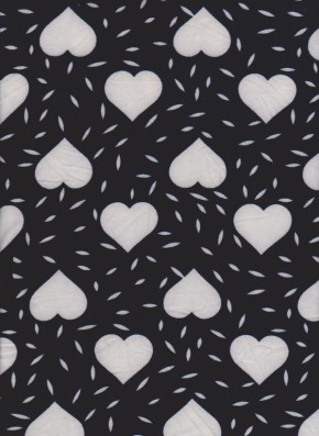 Hearts on Navy Brushed Poly Lycra Jersey