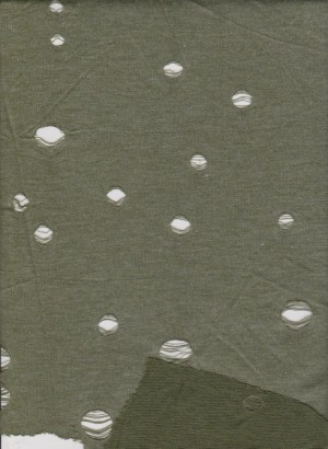Trendy Holes on Soldier Green Double Brushed French Terry