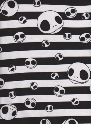 Jack  Skeleton Stripe on White Cotton Lycra Jersey