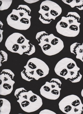 JUST SKULL on Black Cotton Lycra Jersey
