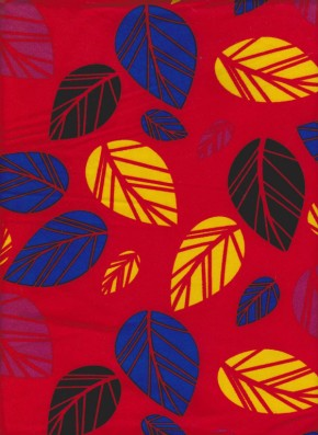 Multicolor Leaves on Cherry Red Double Brushed Poly Lycra Jersey