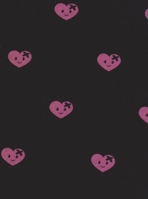 Lovely Hearts with Bandage on Black Cotton Lycra Jersey