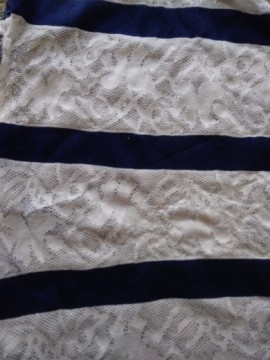 Lace and Navy Stripe Double Knit