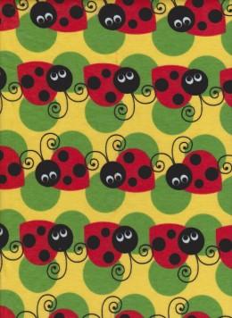 Lady Bugs on Polyester Interlock Knit