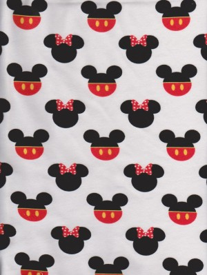 Funny Mouse Heads on White Cotton Lycra jersey