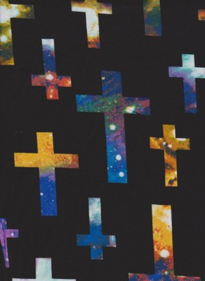 Multicolor Cross on Black Cotton Poly Jersey