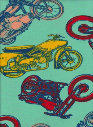 MOTORCYCLES on Mint Double Brushed Poly Lycra Jersey
