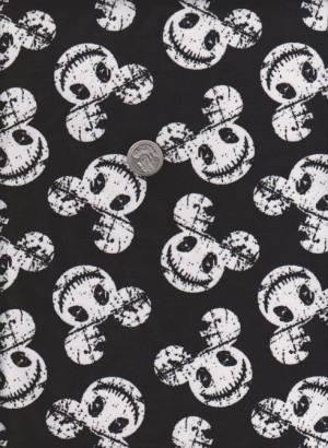 Mouse Skeleton on Black Cotton Lycra Jersey
