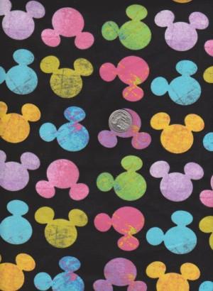 Color Mouse Heads on Black Cotton Lycra