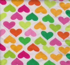 Multicolor Hearts on Cotton Lycra Jersey