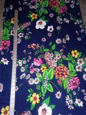 Multiflowers on Navy Double Brushed Poly Lycra