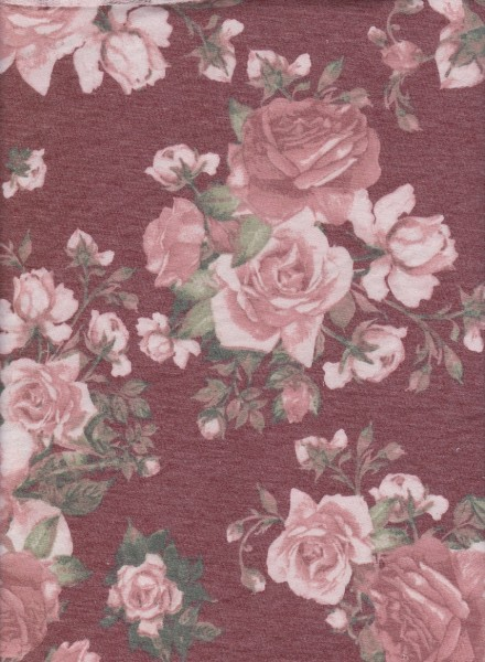 Roses on Burgundy Rayon Poly Lycra French Terry
