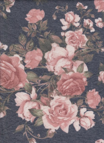 Roses on Charcoal Rayon Poly Lycra French Terry