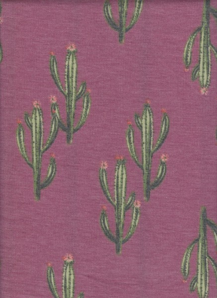 Cactus on Lt Burgundy Rayon Poly Lycra French Terry