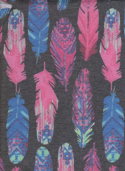 Feathers on Charcoal Rayon Poly Lycra French Terry