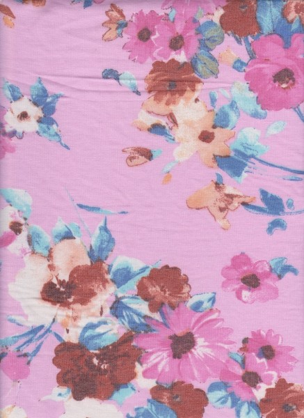 Flowers on Lilac Rayon Poly Lycra French Terry