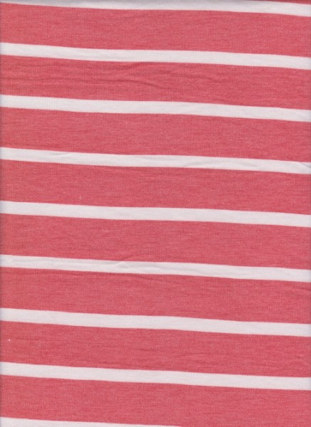 Stripe Coral and White on Rayon Poly Lycra French Terry