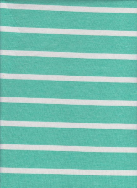 Stripe Mint and White on Rayon Poly Lycra French Terry