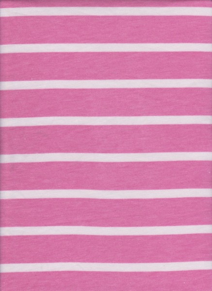 Stripe Hot Pink and White on Rayon Poly Lycra French Terry