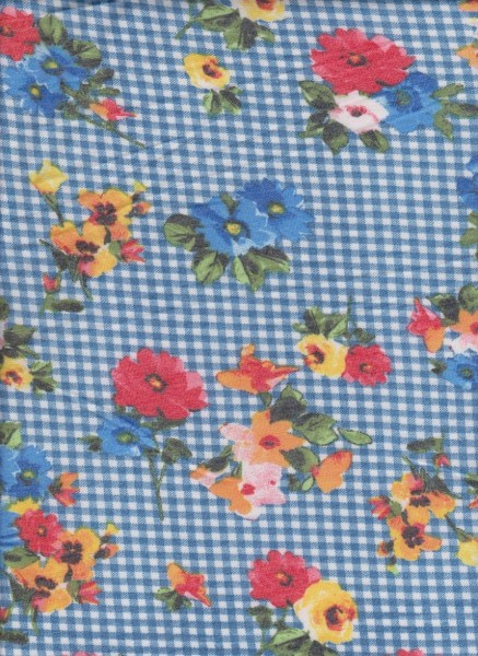 Checkers and Flowers 1 on Rayon Poly Lycra French Terry