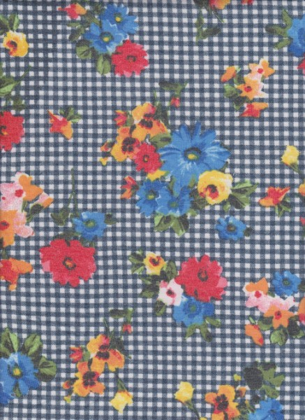 Checkers and Flowers on Rayon Poly Lycra French Terry