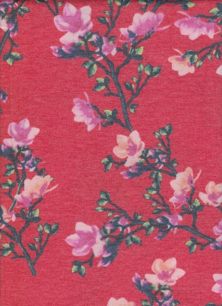 Spring Flowers on Coral Rayon Poly Lycra French Terry