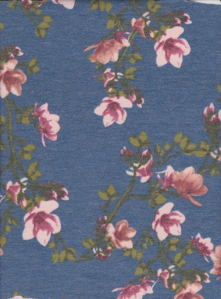 Spring Flowers on Denim Blue Rayon Poly Lycra French Terry
