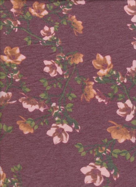 Spring Flowers on Burgundy Rayon Poly Lycra French Terry