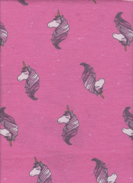 Unicorn on Hot Pink Rayon Poly Lycra French Terry